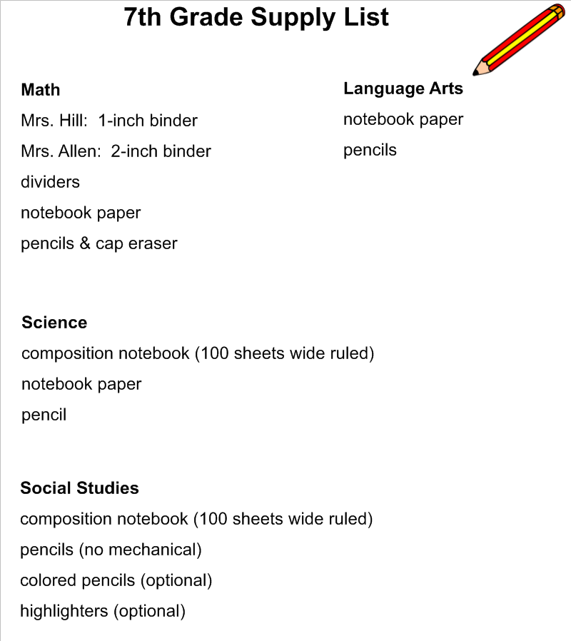 School Supply List School Supply List